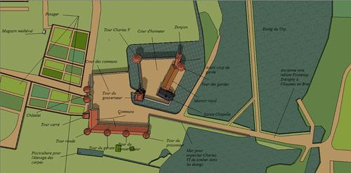 Plan général du château royal du Vivier en Brie, à partir d'un plan du XVIIIème siècle