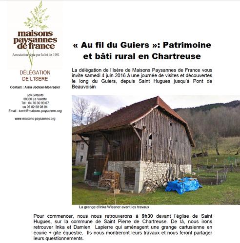 Annonce Visite-conseil (2016) de Maisons Paysannes de France - Isère