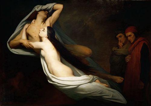 Les ombres de Francesca da Rimini et de Paolo Malatesta apparaissent à Dante et à Virgile, Musée du Louvre