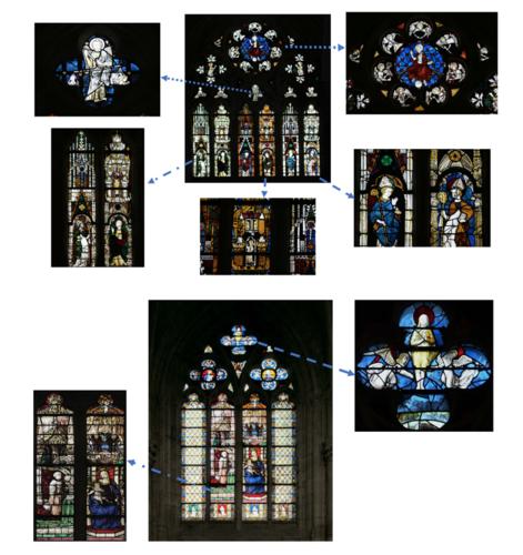 Chapelle Saint Piat - Baies 100 (haut) & 105 (bas)-©Drac Centre-Val de Loire, cliché F. Lauginie