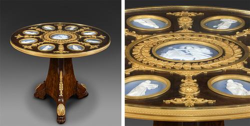 Le guéridon Empire de Joseph Bonaparte (détail) est attribué à l'ébéniste Jacob-Desmalter et incrusté de médaillons en porcelaine de la Manufacture de Sèvres