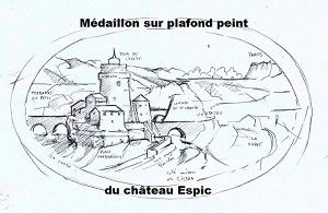Reproduction du médaillon sous forme de dessin réalisé  par Michel Delcausse
