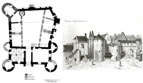 Plan and drawing of the castle (end 19th century)