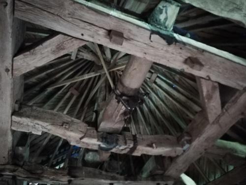 Charpente, axe des ailes et mécanisme de toiture