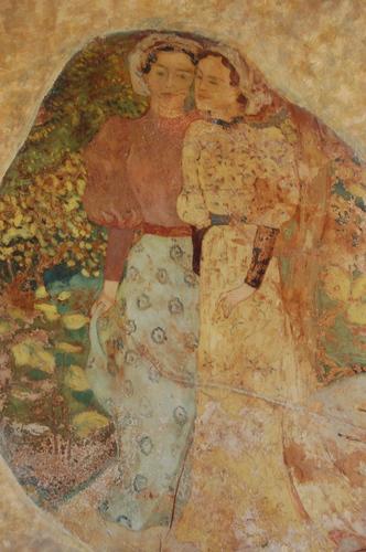 Peinture du trumeau de la cheminée : 2 jeunes filles