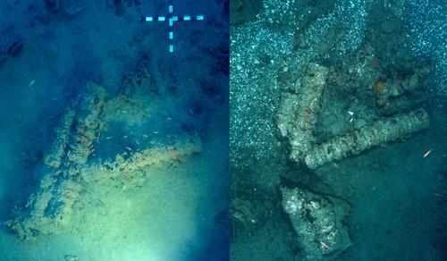 Gauche: 3 canons lors de la découverte du site. Droite: les mêmes canons brisés après une tentative de pillage