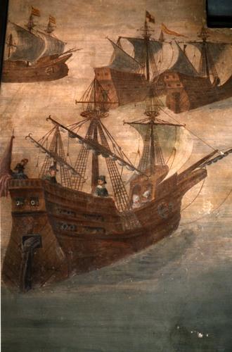 Une nave génoise au XVIème siècle (fresque du chateau de Bazan, 1570)