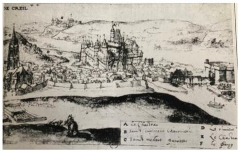 Vue du château de Creil par l'artiste hollandais Joachim Duviert
