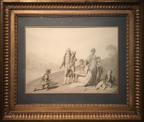 Dessin préparatoire du peintre Louis-Léopold Boilly (1761-1845) pour la commande adressée en 1802 par Christophe-Philippe Oberkampf (1738-1815) d'un tableau représentant sa famille au complet. Le groupe est représenté en extérieur, sur un terrain surplombant la manufacture de toiles imprimées de Jouy. Un « gamin épingleur », c'est-à-dire un jeune ouvrier chargé de la mise en place des toiles peintes dans les prés, est agenouillé au pied de l'indienneur et de son fils aîné Alphonse (1786-1802).