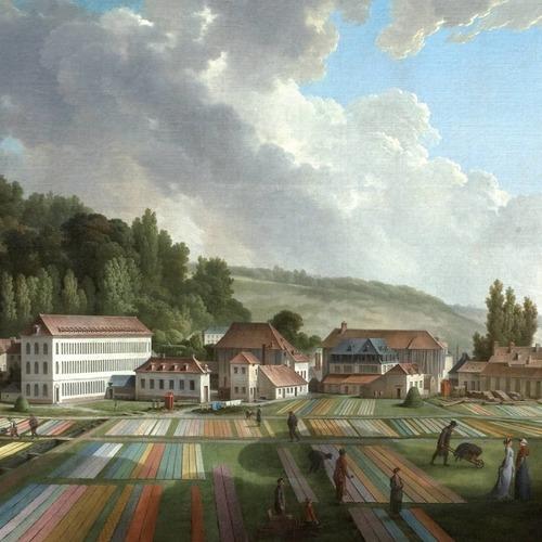 Ce tableau peint par Jean-Baptiste Huet en 1807 représente la Manufacture et ses toiles qui s'étendent, à l'époque, sur plus de 14 hectares. Elle y accueillera de nombreux visiteurs comme : Marie-Antoinette, le compte d'Artois, Necker etc.