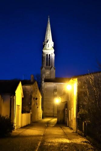 L'église au crépuscule - Rue du Temple