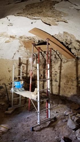 Pièce maîtresse de la tour : plafond voûté du rez de chaussée