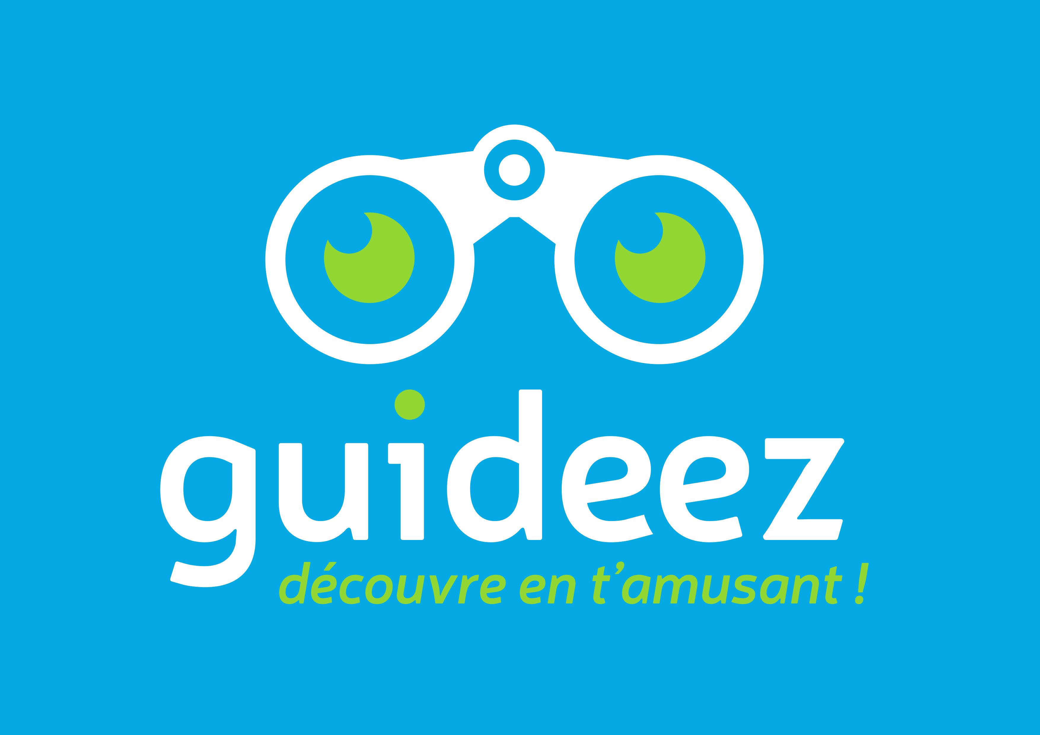 Logo guideez blanc fond bleu